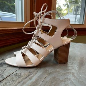 Coach white leather strappy heels | size 8